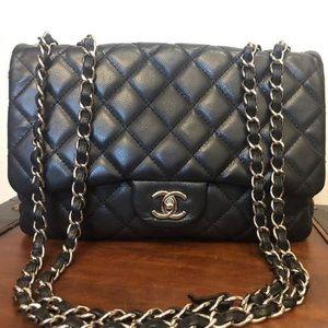 Chanel double flap classic jumbo soft body caviar